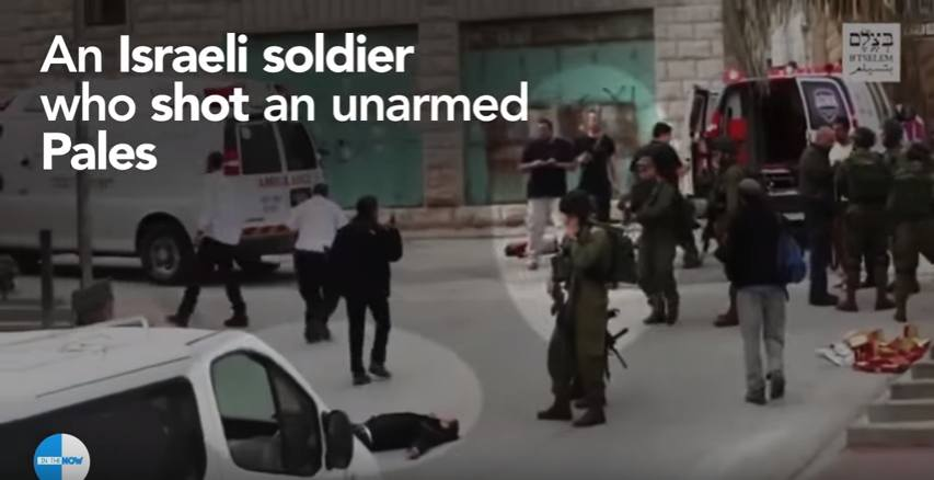 Das Bild ist aus einem Video, dass die Ermordung eines Palästinensers durch einen Soldaten Israel in Hebron zeigt. Shot vom 2016-08-06. Quelle: YouTube, In The Now