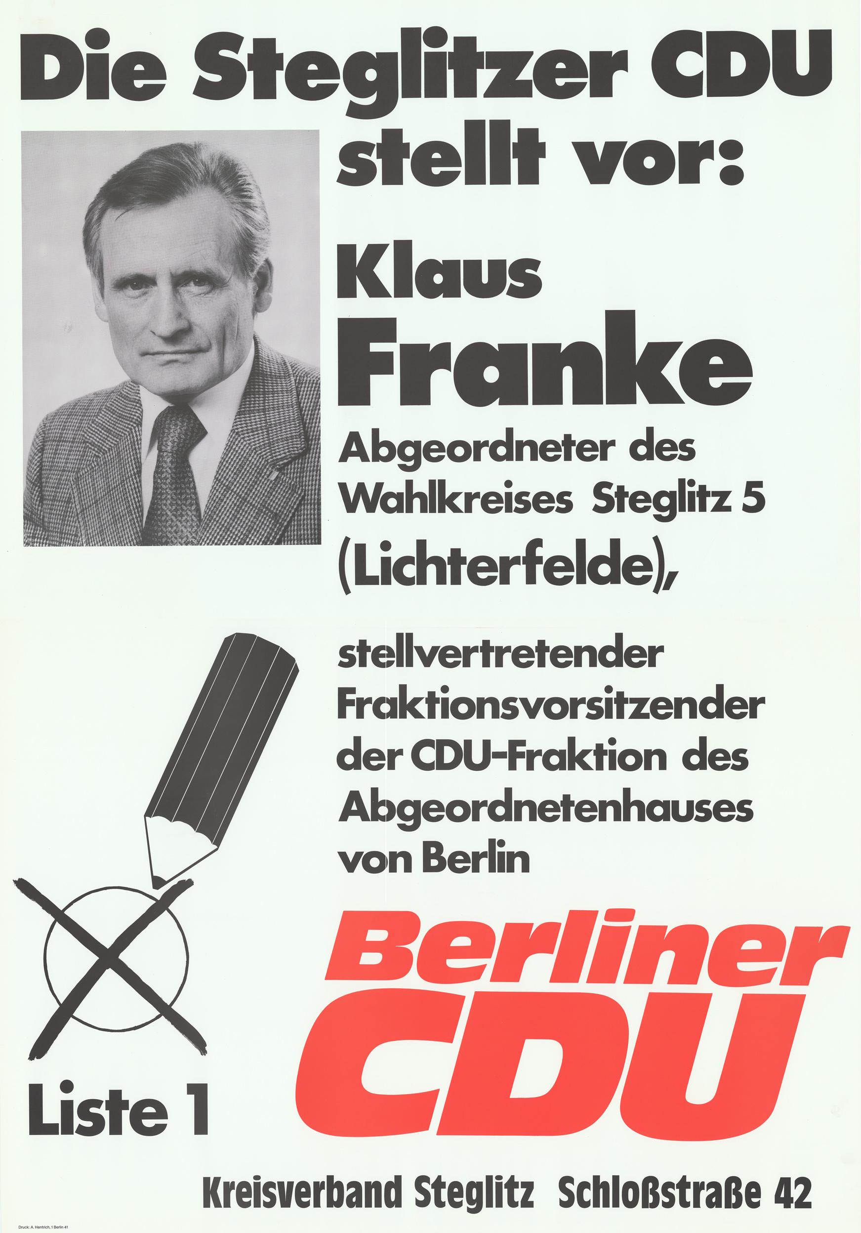 Klaus Franke auf einem Wahlplakat der Berliner CDU.